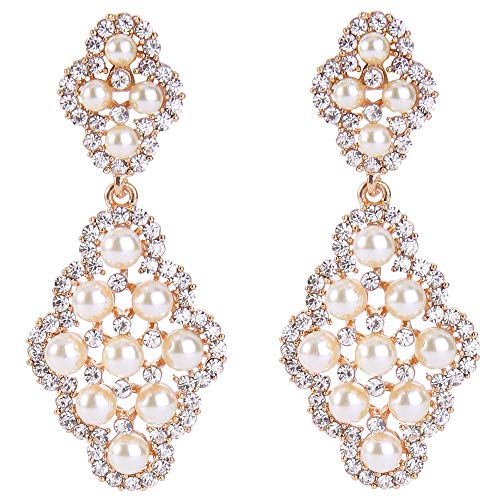 BriLove Gold-Toned Dangle Earrings Simulated Pearl Crystal Wedding Bridal Hollow Rhombus Chandelier Earrings for Women Clear Ivory ()