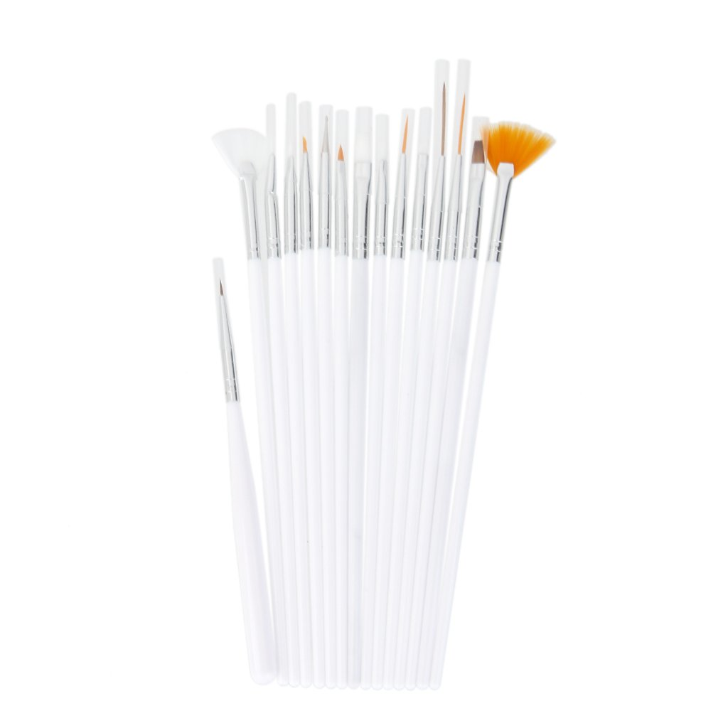 15pcs Nail Art Gel Design Polish Pen Brush Dotting Drawing Tool - White Generic
