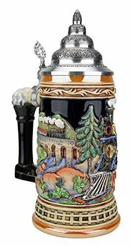 Railroad Train German Beer Stein | King Werk Steam Engine Locomotive Train German Beer Stein 0.5 Liter (Pewter Lid)