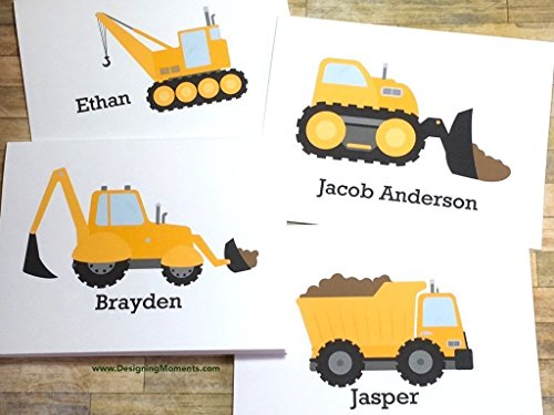 (Personalized Boys Stationary - Excavator Stationery Set - Kids Cards -Construction Cards - Thank You Cards - Yellow Construction Truck Card)