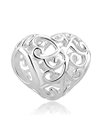 Charmed Craft Family Tree of Life Heart 925 Sterling Silver Charm Beads Fits Pandora Charm Bracelets