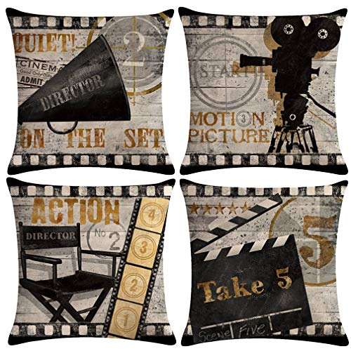 ULOVE LOVE YOURSELF Movie Theater Throw Pillow Covers Vintage Cinema Poster Design Cushion Cover with Old Fashioned Icons Home Decorative Pillowcases 18 X 18 Inch,4 Pack (Vintage Cinema) (Decorative Pillows Theater)