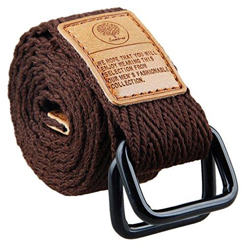 moonsix Canvas Web Belts for Men, Military Style D-ring Buckle Men's Belt, Brown 2