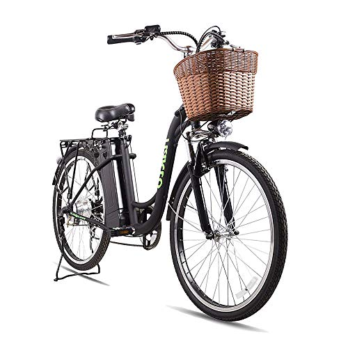 "NAKTO 26"" Adult Electric Bicycles, 250W Motor Electric Bicycles for Adults;Assisted Bicycle for Men Woman with 36V 10A Large Capacity Lithium Battery (Black)"