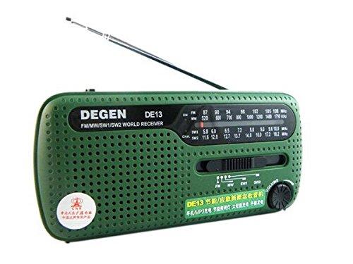 XHD® DEGEN DE13 FM AM SW Crank Dynamo Solar Power Emergency Radio A0798A World (Radio 13)