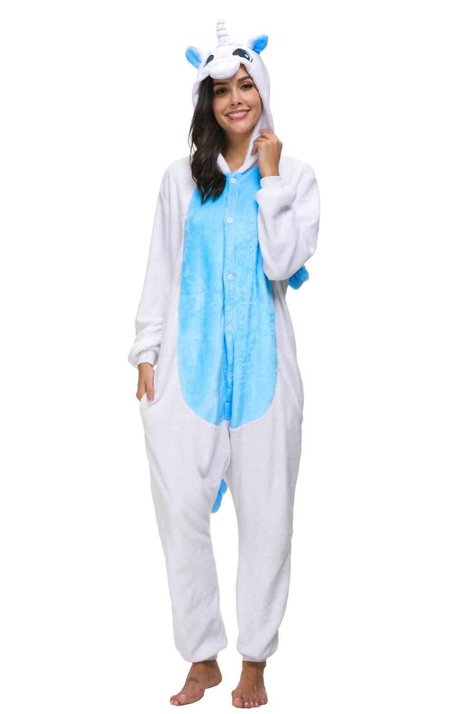 chuangminghangqi Pigiama Cosplay Unicorno Costume Attrezzatura Carnevale Halloween Unisex Adulto Tuta Intera Flanella con Cerniera Botton Coda (Taglia L(Altezza 165cm-173cm), Blu)