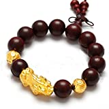 Lobular rosewood Gold Bracelet/ jewelry/ red sandalwood prayer beads bracelets