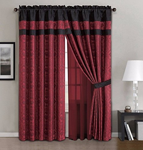 Chezmoi Collection Dynasty 4-Piece Jacquard Floral Window Curtain Set Sheer Backing Tassels Valance, Black/Red