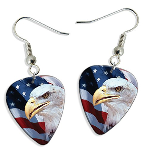 (American US Bald Eagle 2 X Logo Guitar Pick Earrings (GD))