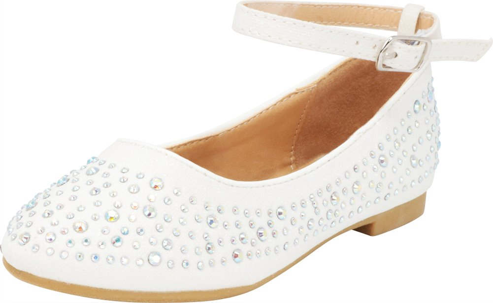Cambridge Select Girls' Closed Round Toe Crystal Rhinestone Buckle Ankle Strap Ballet Flat (Toddler/Little Kid/Big Kid),9 M US Toddler,White