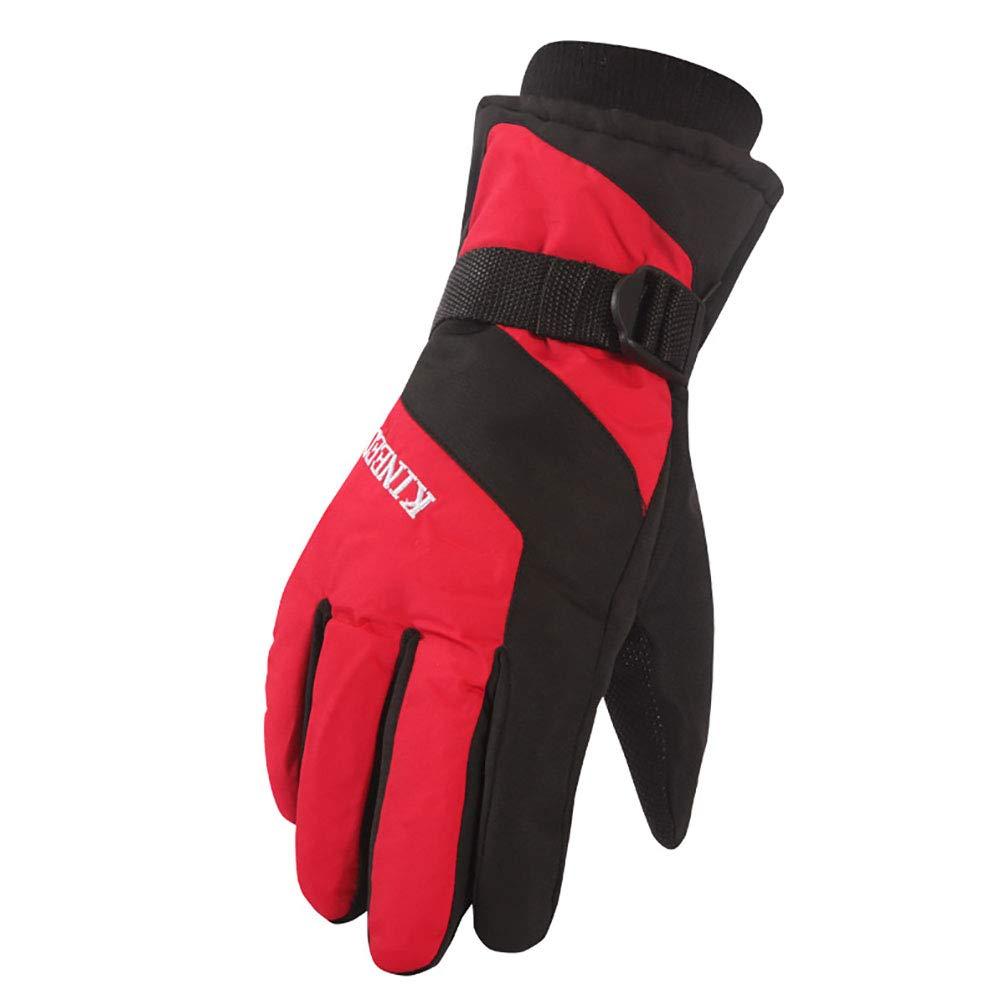GUSTA メンズ 冬用手袋 防水 滑り止め 通気性 暖かいサイクリンググローブ 厚手の冬用手袋 ハイキング スキー 登山 乗馬用 B07HMG3P6R レッド レッド