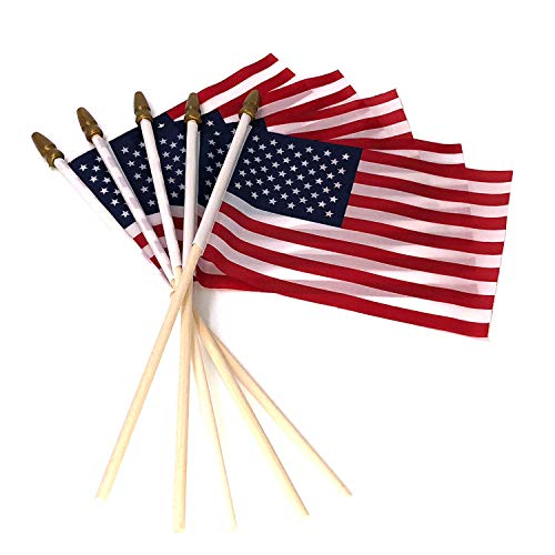 Pack of 100 Small US American Handheld Flags, 4x6 inch Golden Spear Tip, American Flags on Stick Crystal Lemon