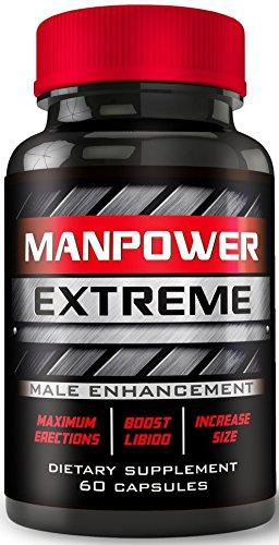 Manpower Extreme - MAX Erection Pills - Ultra-Max Blood-Flow Boost - Increases Men's Hardness, Drive, Libido - Boost Size - Male Enhancement Pills, Enlargement Pills for Men