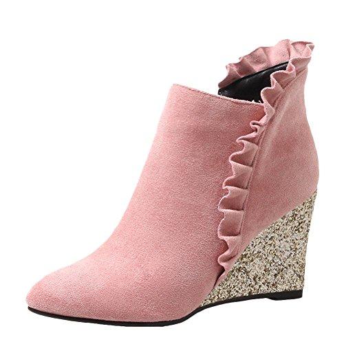 Mee Shoes Women's Sweet Wedge Heel Pointed Toe Zip Short Boots Pink