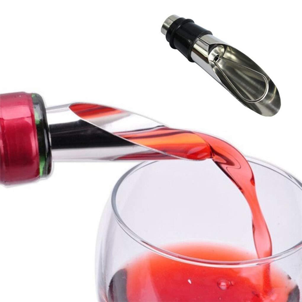 Pegcduu Suministros de Acero Inoxidable Corcho de la Botella vertedor Botella de Vino del tap/ón de la Botella de Silicona stopperWine Casquillo de lacre de la Cocina casera Bar