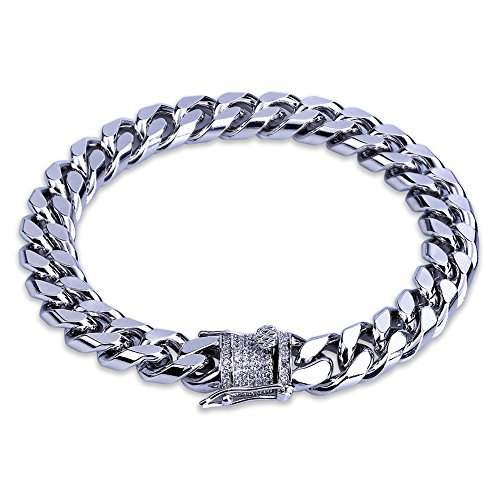 Setting Link Bracelet - TOPGRILLZ Hip Hop14K Gold Plated Finished Miami Cuban Link Bracelet with Iced Out Simulated Lab Diamond Clasp for Men Women