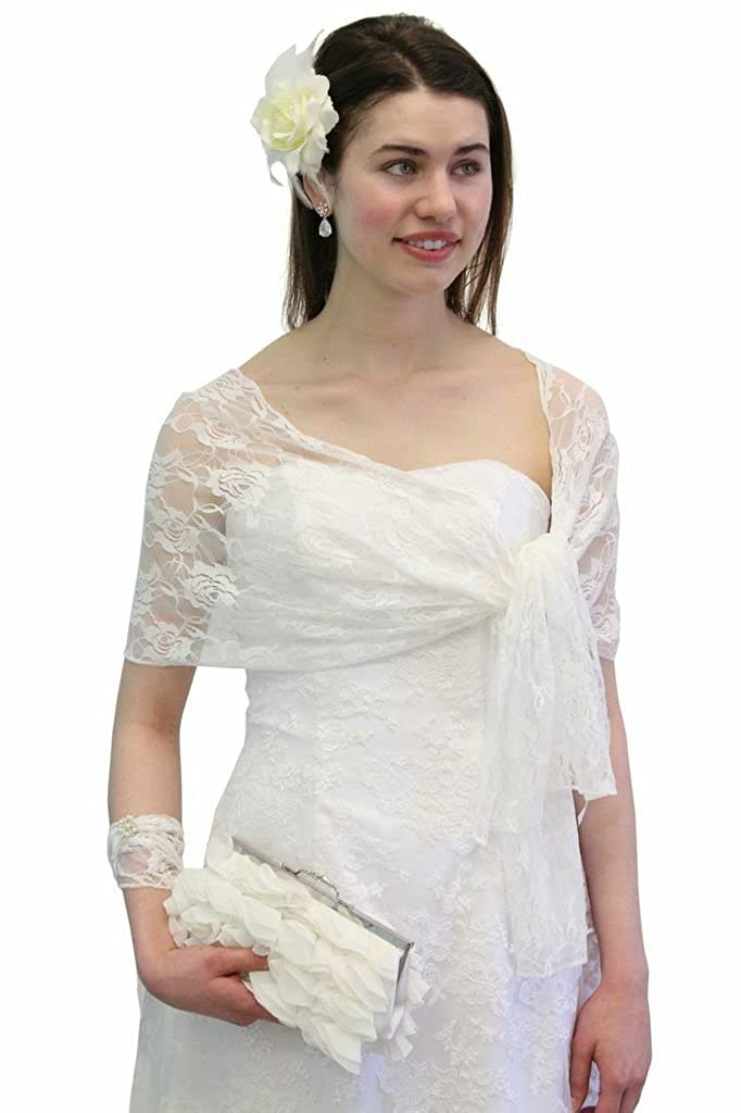 Ivory Lace Bridal Wrap Wedding Stole At Amazon Womens Clothing