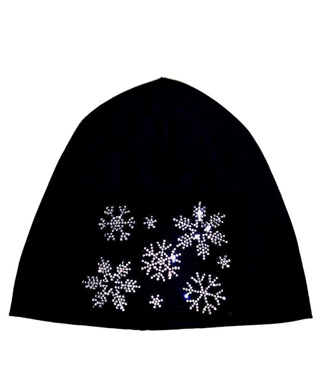 Damen Jersey Beanie Mütze mit Strass-Applikation Schmetterling Herz Spinne Krone Pferd Totenkopf Schneeflocke Skimütze