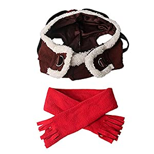 ZTL Pet Cool Pilot Hat and Scarf Set Cosplay Costume Accessories for Dog Cat