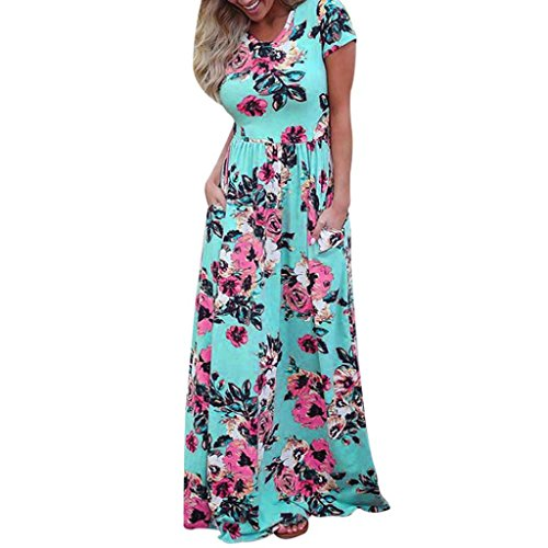 Maxi Dresses for Womens, FORUU Summer Short Sleeve Floral Printed Long Sundress -