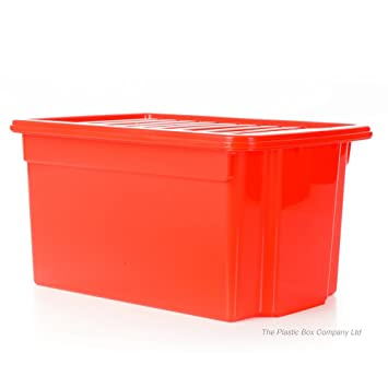 50 Litre Large Plastic Storage Boxes With Lids (Pack Of 5) 58 X 40.5