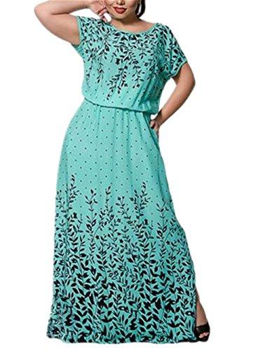 Casual Dress Pois Maxi Abito Comoda Chemisier Sciolto Green Vestiti Chiffon Da Collo In Manica Corta Rotondo Popolare Abiti Besthoo Vestito Donna 0N8mnwv