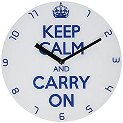 Refelx Non-Ticking Silent Acrylic Wall Clock, Large, Keep Calm and Carry on, White