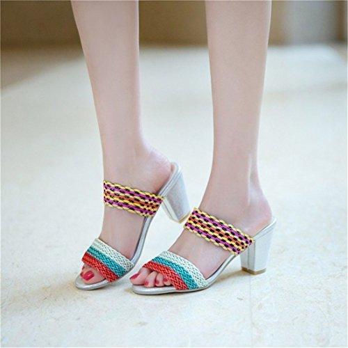 Talón Sandalia Alto de Mujer Red Mujer con Planas Zapatos Sandalias La para Pulsera Sra Sandalias Verano de Sandalias 57qOO