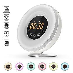 SveBake Sunrise Wake Up Light - Sunrise Simulation Progressive Alarm Clock with 6 Nature Musics, FM Radio, 7 Color Lights, White