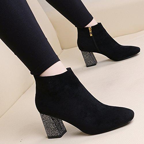 KHSKX-Mode Schuhe Mit Groben Frauen Schuhe Mit Pailletten Mit Seitlichem Reißverschluss Martin Stiefel Plus Samt Boot black