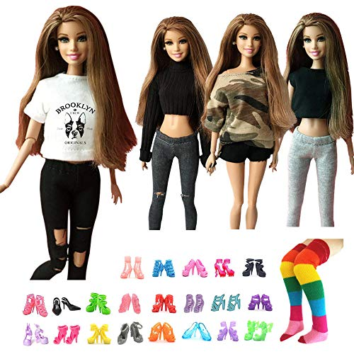 UUsave 4 Sets Handmade Doll Outfits Set + 10 Pairs Doll Shoes + 1 Pair Stocking Fashion Casual Wear Clothes 1/6 Doll Clothing Replacement for Barbie Doll(A)