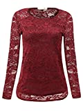 DUYOHC Red Lace Tops for Women, Women's Casual Blouse Shirts Womens Crewneck Sexy Back of See-Through Hollowed-Out Floral Lace Blouses Hollow Long Sleeve Shirt Top Large Red