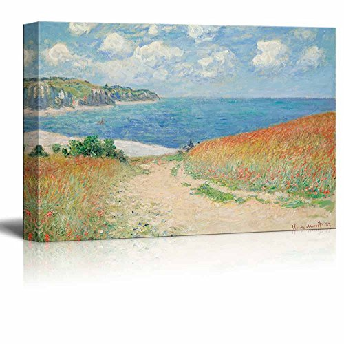 (wall26 - Claude Monet - Path Through The Corn at Pourville - Impressionist Modern Art - Canvas Art Home Decor - 24x36 inches)