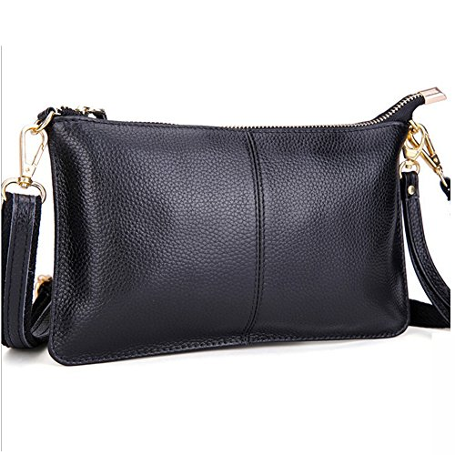 Daily Wristlet Wallet Crossbody Small Mynos Leather Black Genuine Bag Purse Smartphone Clutch Bag Women vqwF0