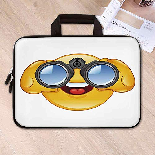 (Emoji Neoprene Laptop Bag,Smiley Face with a Telescope Binoculars Glasses Watching Outside Cartoon Print for Business Casual or School,13.8''L x 10.2''W x 0.8''H)