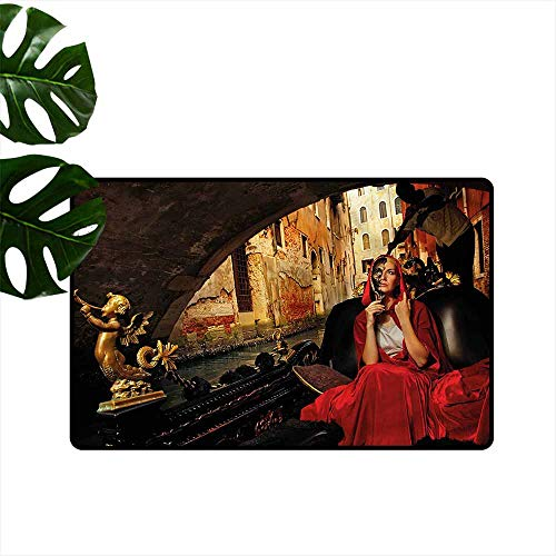 (DONEECKL Door mat Customization Venice Woman in Red Cloak Mask with Anti-Slip Support W20 xL31)