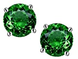 Star K Round 7mm Simulated Emerald Earrings Studs Sterling Silver