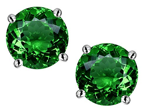 Star K Round 7mm Simulated Emerald Earrings Studs Sterling Silver ()