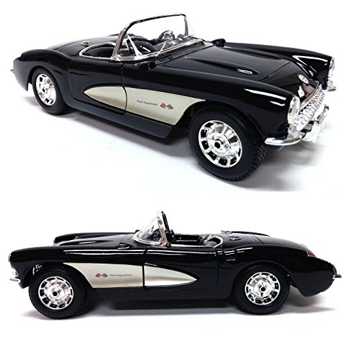 New 1:18 W/B SPECIAL EDITION - BLACK 1957 CHEVROLET CORVETTE Diecast Model Car By (Chevrolet Corvette Car)