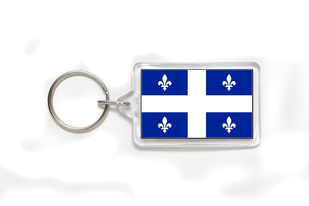 Quebec Canada Flag Double Sided Acrylic Key Ring Small