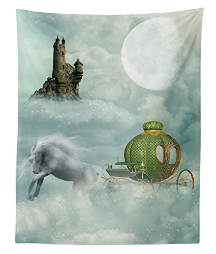 Lunarable Fantasy Tapestry Twin Size, Unicorn in Clouds with Carriage and Gothic Castle in Clouds Moon Fairytale Design, Wall Hanging Bedspread Bed Cover Wall Decor, 68 W X 88 L inches, Mint Green ()