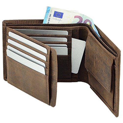 Echt Leder Herren Geldbörse Portemonnaie Brieftasche Geldbeutel Kartenetui Braun 6NXsx8wY