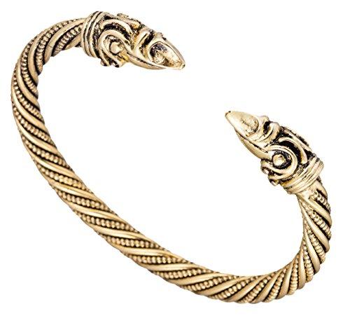 Fishhook Vintage Viking Pagan Crow Raven Head Screw Metal Cuff Bangle Wristband Bracelet Jewelry