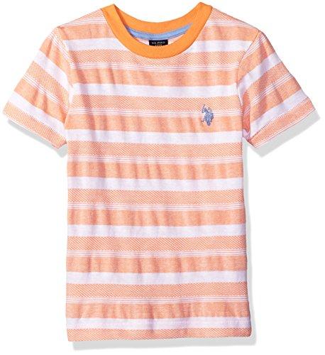 U.S. Polo Assn. Boys Short Sleeve Fancy Crew Neck T-Shirt, Novelty Stripes Orange Sand, 10/12 (Orange Shirt Stripe)