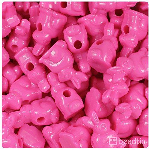 BeadTin Dark Pink Opaque 24mm Bunny Rabbit Pony Beads (24pcs) -