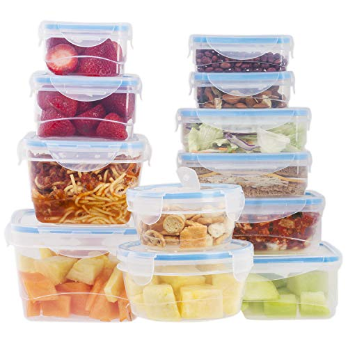 24 Pc Reusable Kitchen Containers w/ 4 Bonus Vented Lids - Plastic Food Containers - Microwavable Containers (Blue Lids)