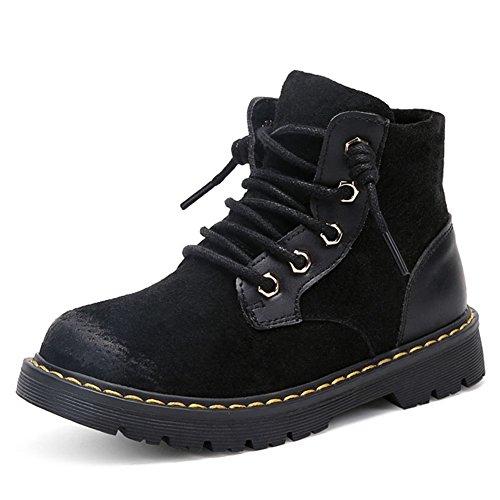 Hoxekle Boys Winter Fur Lining Combat Hiking Boots Kid Toddler Non Slip British Zipper Ankle Martin Boot