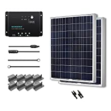 RENOGY® Solar Panel Starter Kit 200W Poly: Two 100W Poly Solar Panels UL 1703 Listed+One 30Amp PWM Charge Controller+One Pair of MC4 Branch Connector+One Pair of 20Ft MC4 Solar Adaptor Kit with Male and Female Connector+ Two Sets of Z Bracket Mounts