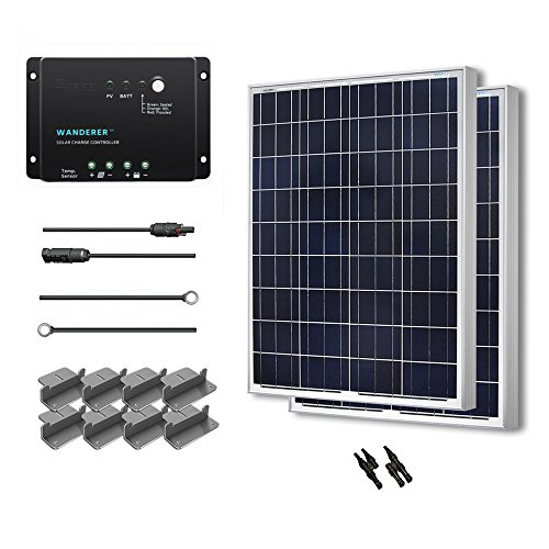 (RENOGY Solar Panel Starter Kit 200W Poly: Two 100W Poly Solar Panels +One 30A PWM Charge Controller+One Pair of MC4 Branch Connector+One Pair of 20Ft MC4 Solar Adaptor Kit + One Pair of 8Ft Tray Cable + Two Sets of Z Bracket Mounts)