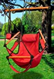 New Hammock Hanging Chair Air Sky Swing Outdoor Chair Solid Wood 250lbs (Red) Review